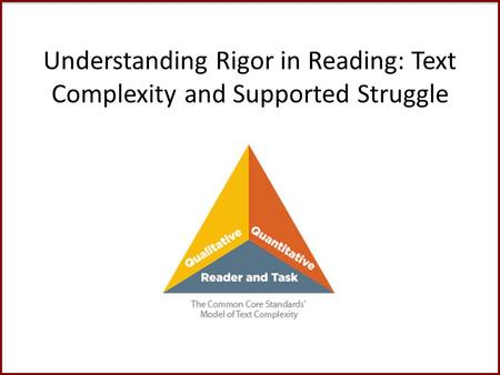 Understanding Rigor in Reading: Text Complexity and Supported Struggle.