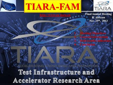 TIARA-FAM  Final Annual Meeting R. Aleksan Nov. 25 th, 2013 1.Meeting Objectives 2.General Information 3.Deliverables/milestones.