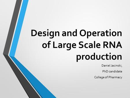 Design and Operation of Large Scale RNA production
