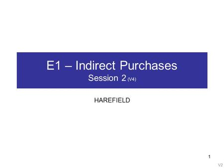 V2 1 E1 – Indirect Purchases Session 2 (V4) HAREFIELD.