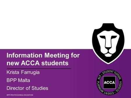 Information Meeting for new ACCA students