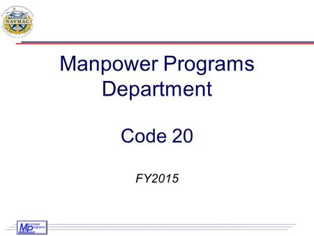 Manpower Programs Department Code 20