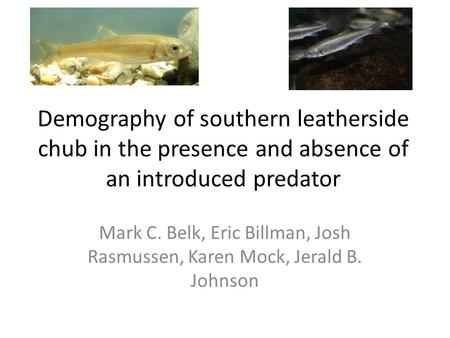 Demography of southern leatherside chub in the presence and absence of an introduced predator Mark C. Belk, Eric Billman, Josh Rasmussen, Karen Mock, Jerald.