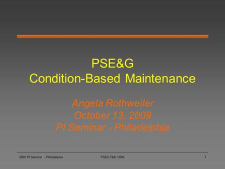 PSE&G Condition-Based Maintenance