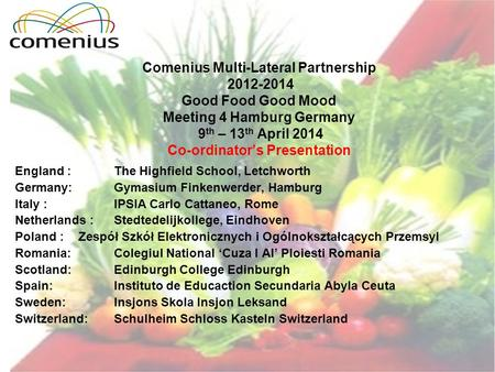 Comenius Multi-Lateral Partnership 2012-2014 Good Food Good Mood Meeting 4 Hamburg Germany 9 th – 13 th April 2014 Co-ordinator's Presentation England.