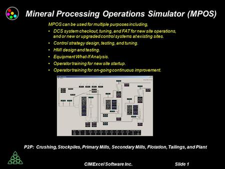 CIMExcel Software Inc. Slide 1 Mineral Processing Operations Simulator (MPOS) MPOS can be used for multiple purposes including, DCS system checkout, tuning,