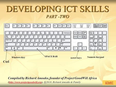 DEVELOPING ICT SKILLS PART -TWO Compiled by Richard Amoako, founder of Project GoodWill Africa Richard Amoako.