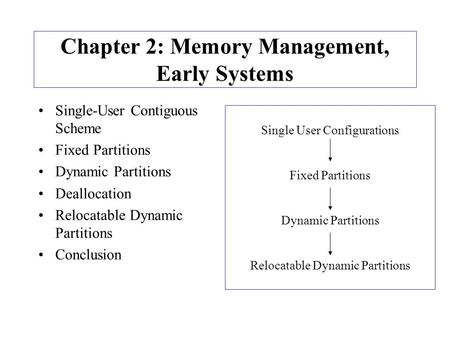 Chapter 2: Memory Management, Early Systems Single-User Contiguous Scheme Fixed Partitions Dynamic Partitions Deallocation Relocatable Dynamic Partitions.
