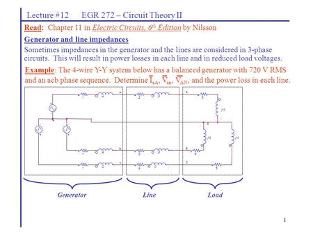 1 Lecture #12 EGR 272 – Circuit Theory II Read: Chapter 11 in Electric Circuits, 6 th Edition by Nilsson Generator and line impedances Sometimes impedances.