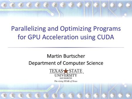 Parallelizing and Optimizing Programs for GPU Acceleration using CUDA