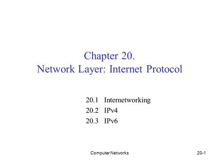 Computer Networks20-1 Chapter 20. Network Layer: Internet Protocol 20.1 Internetworking 20.2 IPv4 20.3 IPv6.