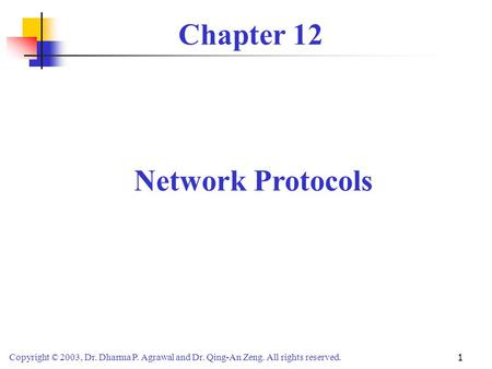 Chapter 12 Network Protocols.