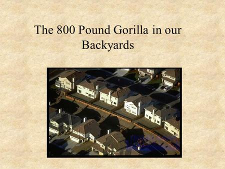 The 800 Pound Gorilla in our Backyards. Why Focus on the Suburban Lawn? A high level of American's interaction with the environment occurs here – need.