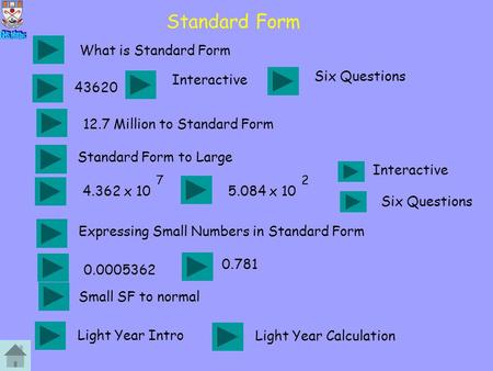Standard Form What is Standard Form 43620 Interactive 12.7 Million to Standard Form 4.362 x 10 7 5.084 x 10 2 Interactive 0.0005362 0.781 Light Year Intro.