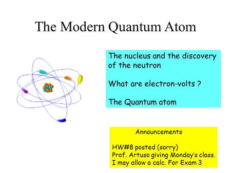 The Modern Quantum Atom The nucleus and the discovery of the neutron What are electron-volts ? The Quantum atom Announcements HW#8 posted (sorry) Prof.