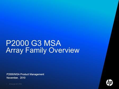 P2000 G3 MSA Array Family Overview