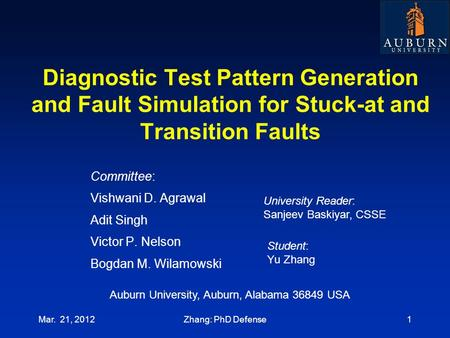 Diagnostic Test Pattern Generation and Fault Simulation for Stuck-at and Transition Faults Committee: Vishwani D. Agrawal Adit Singh Victor P. Nelson Bogdan.