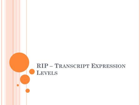 RIP – T RANSCRIPT E XPRESSION L EVELS. O UTLINE RNA Immuno-Precipitation (RIP) NGS on RIP & its alternatives Alternate splicing Transcription as a graph.