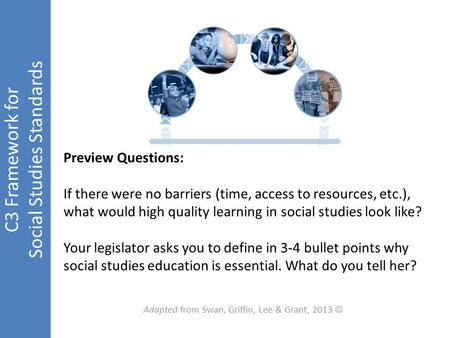 C3 Framework for Social Studies Standards Adapted from Swan, Griffin, Lee & Grant, 2013 © Preview Questions: If there were no barriers (time, access to.