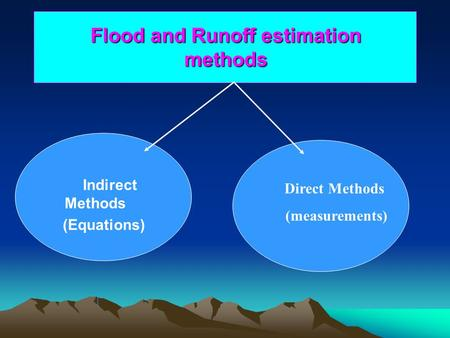 Flood and Runoff estimation methods