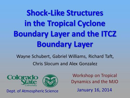 Wayne Schubert, Gabriel Williams, Richard Taft, Chris Slocum and Alex Gonzalez Dept. of Atmospheric Science Workshop on Tropical Dynamics and the MJO January.