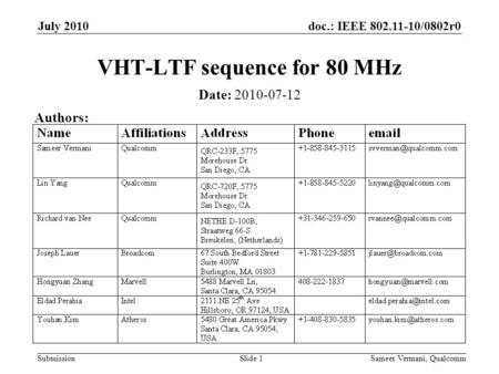 Doc.: IEEE 802.11-10/0802r0 Submission July 2010 VHT-LTF sequence for 80 MHz Date: 2010-07-12 Authors: Sameer Vermani, QualcommSlide 1.