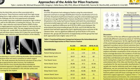 Functional Outcomes of Patients Undergoing Anterolateral versus Anteromedial Approaches of the Ankle for Pilon Fractures Tyler J. Jenkins BS, Michael Khazzam.