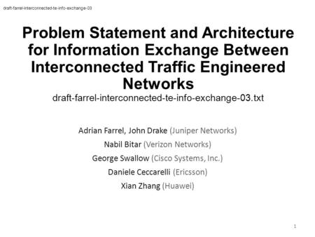 Problem Statement and Architecture for Information Exchange Between Interconnected Traffic Engineered Networks draft-farrel-interconnected-te-info-exchange-03.txt.