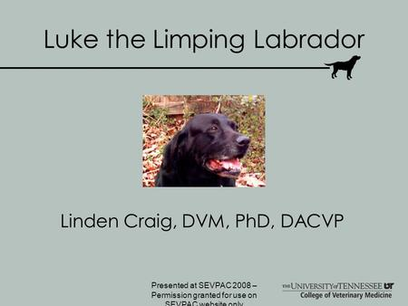 Luke the Limping Labrador Linden Craig, DVM, PhD, DACVP Presented at SEVPAC 2008 – Permission granted for use on SEVPAC website only.