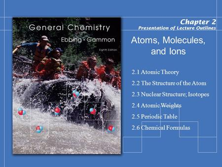 Atoms, Molecules, and Ions 2.1 Atomic Theory 2.2 The Structure of the Atom 2.3 Nuclear Structure; Isotopes 2.4 Atomic Weights 2.5 Periodic Table 2.6 Chemical.