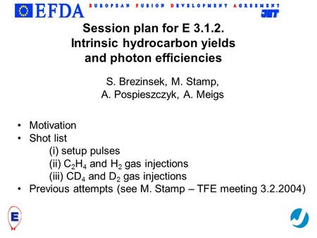 Trilateral Euregio Cluster Session plan for E 3.1.2. Intrinsic hydrocarbon yields and photon efficiencies Motivation Shot list (i) setup pulses (ii) C.