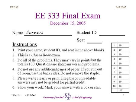 Fall 2005 1 EE 333 Lillevik480f05-a3 University of Portland School of Engineering EE 333 Final Exam December 15, 2005 Instructions 1.Print your name, student.