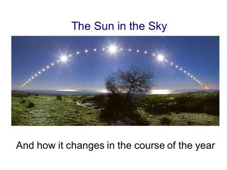 The Sun in the Sky And how it changes in the course of the year.