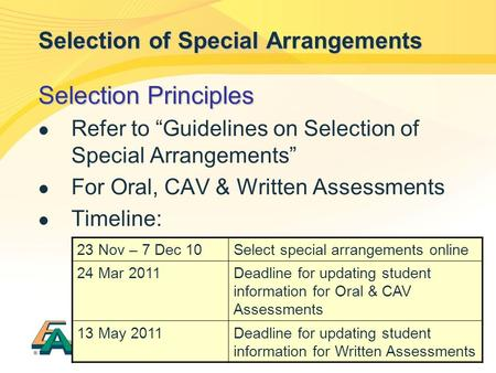 "1 Selection of Special Arrangements Selection Principles Refer to ""Guidelines on Selection of Special Arrangements"" For Oral, CAV & Written Assessments."