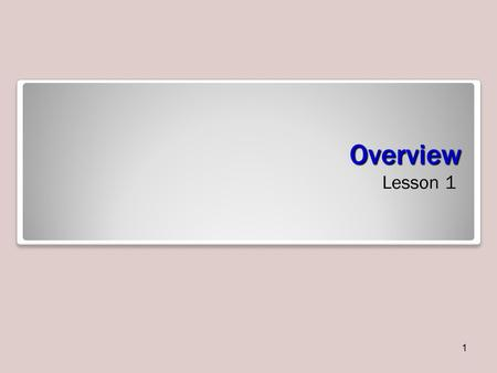 Overview Lesson 1 1. Objectives 2 Starting Excel You can open Microsoft Office Excel 2010 by clicking the Start menu, All Programs, Microsoft Office,