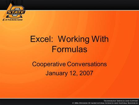 Excel: Working With Formulas Cooperative Conversations January 12, 2007.