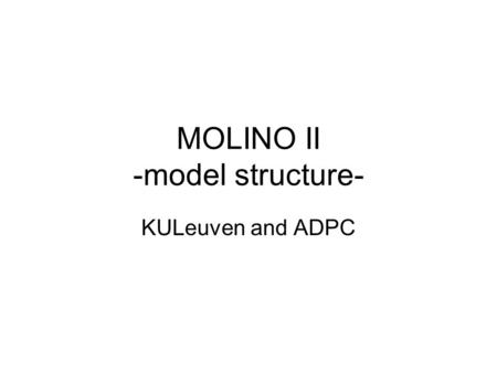 MOLINO II -model structure- KULeuven and ADPC. Contents MOLINO I: –Overview –list of improvements needed MOLINO II: –Network structure and definitions.