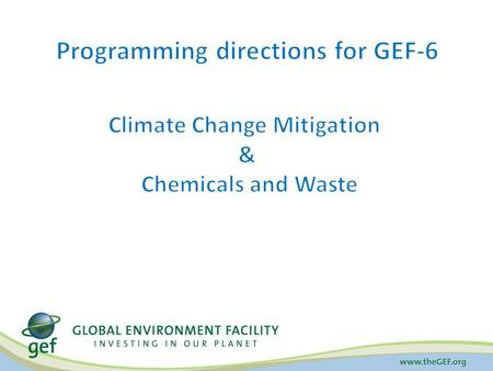 Programming directions for GEF-6 Climate Change Mitigation