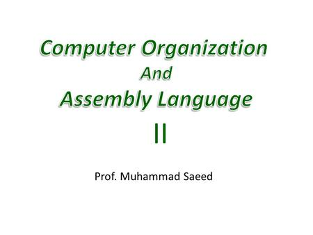 Prof. Muhammad Saeed II. 1/27/2015 Computer Architecture & Assembly Language 2.