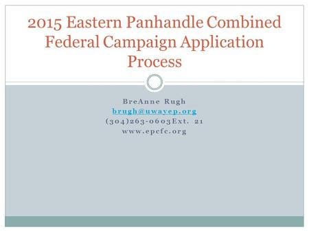 2015 Eastern Panhandle Combined Federal Campaign Application Process