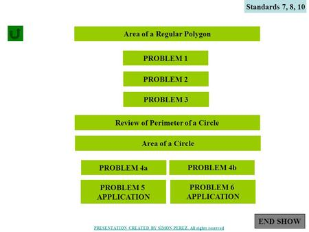 1 Standards 7, 8, 10 Area of a Regular Polygon PROBLEM 1 PROBLEM 2 PROBLEM 3 Review of Perimeter of a Circle Area of a Circle PROBLEM 4a PROBLEM 4b PROBLEM.