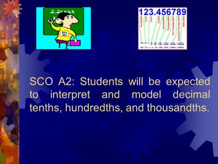 SCO A2: Students will be expected to interpret and model decimal tenths, hundredths, and thousandths.