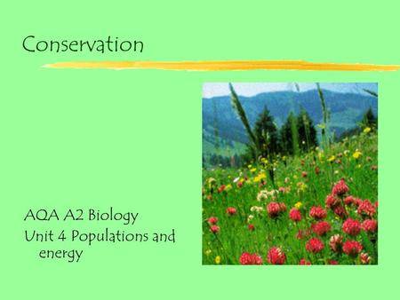 Conservation AQA A2 Biology Unit 4 Populations and energy.