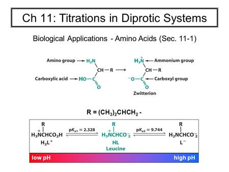 Ch 11: Titrations in Diprotic Systems Biological Applications - Amino Acids (Sec. 11-1) low pH high pH R = (CH 3 ) 2 CHCH 2 -