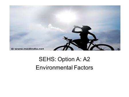 SEHS: Option A: A2 Environmental Factors
