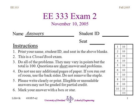 Fall 2005 1 EE 333 Lillevik480f05-a2 University of Portland School of Engineering EE 333 Exam 2 November 10, 2005 Instructions 1.Print your name, student.