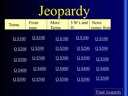 Jeopardy Terms Front page More Terms 5 W's and H News comes from Q $100 Q $200 Q $300 Q $400 Q $500 Q $100 Q $200 Q $300 Q $400 Q $500 Final Jeopardy.