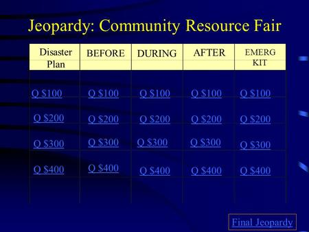 Jeopardy: Community Resource Fair Disaster Plan BEFORE DURING AFTER EMERG KIT Q $100 Q $200 Q $300 Q $400 Q $100 Q $200 Q $300 Q $400 Final Jeopardy.