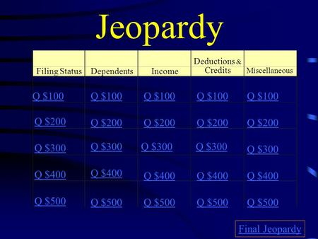 Jeopardy Filing StatusDependentsIncome Deductions & Credits Q $100 Q $200 Q $300 Q $400 Q $500 Q $100 Q $200 Q $300 Q $400 Q $500 Final Jeopardy Miscellaneous.