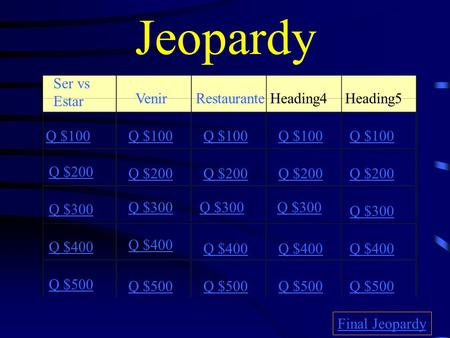 Jeopardy Ser vs Estar VenirRestauranteHeading4 Heading5 Q $100 Q $200 Q $300 Q $400 Q $500 Q $100 Q $200 Q $300 Q $400 Q $500 Final Jeopardy.